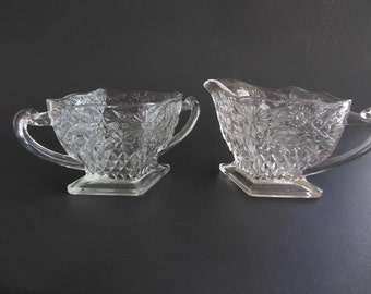 Pineapple and Floral Vintage Creamer and Sugar Indiana Glass no. 618 1930s