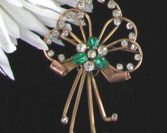 Bar Jam Vintage Signed Pin - Green Rhinestone Flower 12K Gold Filled Pin broach brooch