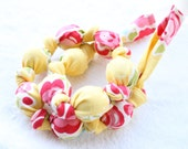 Fabric Statement Necklace, Chomping, Nursing, Teething Necklace - Lemonade Blossoms