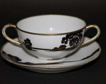 NIPPON Bouillon Cup and Saucer. 1891 - 1921