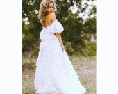 SALE Off The Shoulder Lace Ruffle Wedding Dress 70s Southern Belle Red OR White Sash