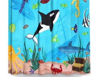 shower curtain under the sea shower curtain ocean shower curtain sea animals