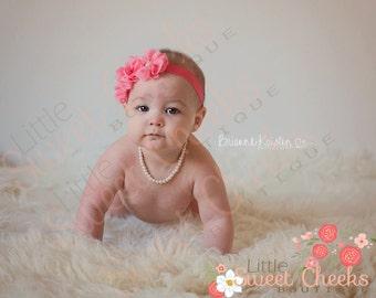 baby headband, baby girl headband, vintage headband, wedding headband, flower headband, pink headband,  triple flower headband, chiffon