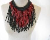 Red/Black Leather Necklace/Choker/Bib
