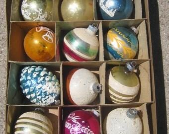 Vintage Shiny Brite Corning Mix Christmas Ornaments Stripes Decals Stencils Mica Sparkle Snow