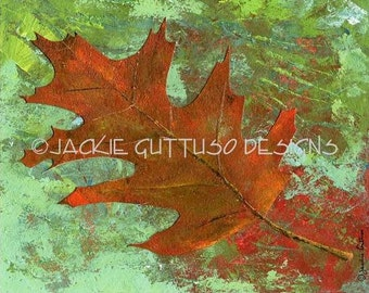 "Leaf art, Archival print, 8 x 10"", Oak leaf, Fall leaf collage, Autumn decor, Print of acrylic leaf, Fall leaves, Print of acrylic painting"