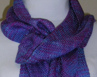 Handwoven, hand-dyed silk scarf