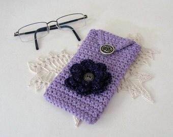 Crochet Eyeglass Case Lavender Cotton Sparkle Flower