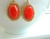 Hot Coral Orange Gold Bezel Resin Charm Dangle Earrings.  Summer Fashion Jewelry.  Bridesmaids Jewelry.  Coral Earrings.