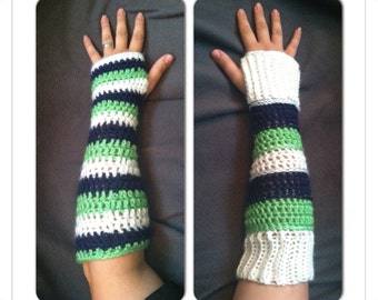 Seahawk colored arm warmers
