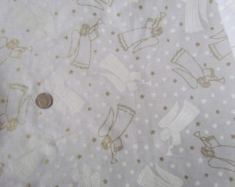 1 1/4  yards of Angels in Gold and White on White    destash 190