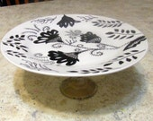 Hand Painted White Cake Plate With Black Design and Gold Color Glass Pedestal Glassware Kitchen Serving Plate Ceramic
