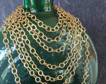 Gold Brass Cable Chain, Textured Lightweight Chain, Soldered Chain, 6x4mm, 6FT