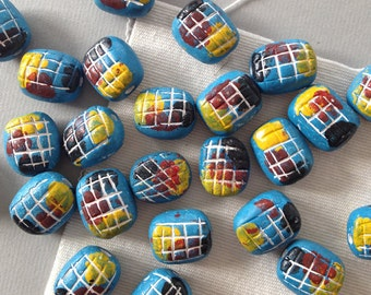 Vintage Clay Beads, Hand Painted Beads, Hippie Beads, 16 x 20mm, 6pcs