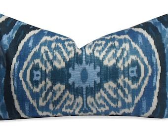 Duralee Denim Blue Ikat Lumbar Pillow Cover - SAME Fabric BOTH Sides - Invisible Zipper
