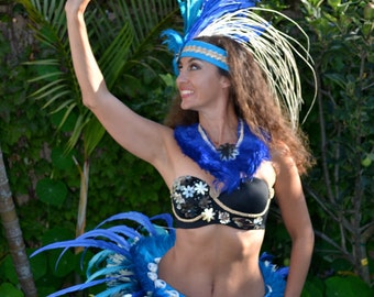 Complete Tahitian ori costume with headband and hipbelt