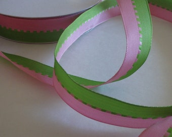 "1"" pink and green ribbon, 5 yards (180 inches)"