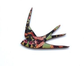 Patterned Swallow Brooch - Bird Jewellery, Bird Brooch, Swallow Pin, Swallow Jewellery