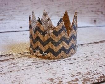 Boy Natural Burlap Chevron Crown: Newborn Photo Prop, Newborn Crown, Burlap Crown, Baby Crown, Crown, Infant Crown, Photography Prop