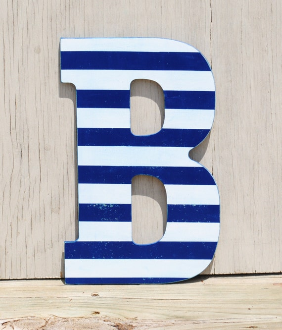 Distressed Striped Navy Blue And White Letter Decorative