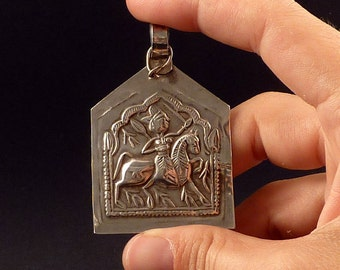 Big Indian silver old hindu amulet pendant, Bhumiya Raj, Rajasthan amulet, jewellery from Rajasthan, ethnic pendant, tribal amulet