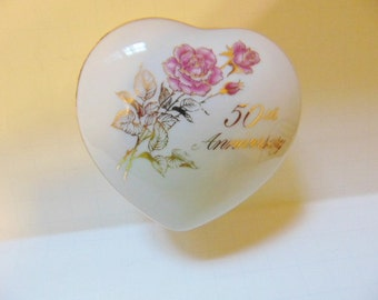 Vintage Romance Rose Collection 50th Anniversary Trinket Dish