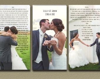 Wedding Photo Wall Art with Wedding Vow Typography