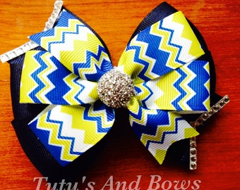 Lime green and navy blinged out bow