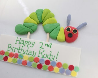 Hungry Fondant Worm 1 qty, 1 qty sign and 1 qty caterpillar - hungry great for a birthday party