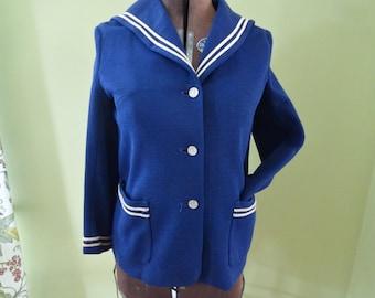 60's Mod Sailor Jacket - Navy - Blazer - Made in London - Vintage Military Nautical Jacket - Washable - Dainty Maid