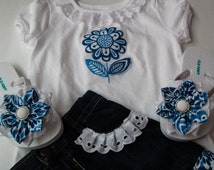 Denim ruffle skirt, Girls  jeans ruffle shirt outfit,Boutique style toddler skirt set  with matching flip flops size 3T