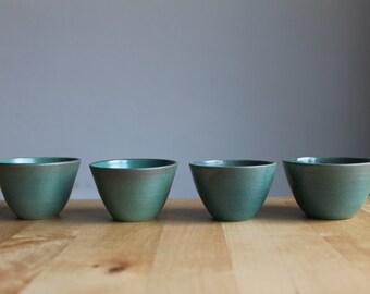 Rustic modern espresso cups Green gorgeous glaze