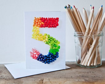 Five Years old Jellybeans Happy Birthday Card
