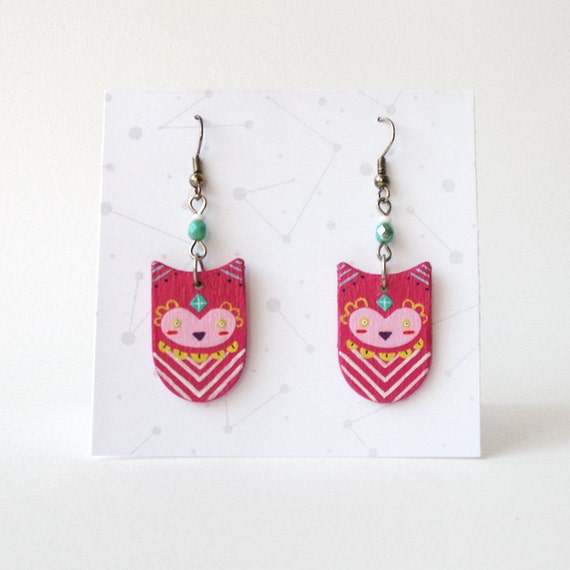 Geometric Owl Earrings in Fuchsia