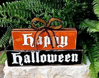 Happy Halloween Fun and Cute Wood Block Decor Sign Black Orange Fall