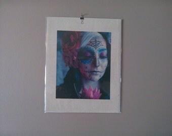 Woman's face paint sugar skull zombie gilcee canvas burlap art print