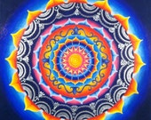 "Orange, Blue, and Silver mandala - 16 x 16"" Giclee print"