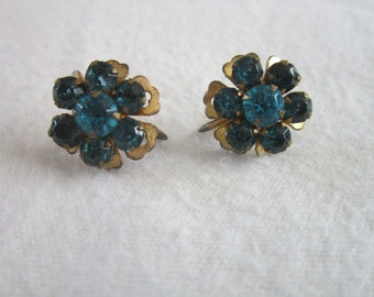 Old Aqua Blue Rhinestone Ladies screw back Earrings