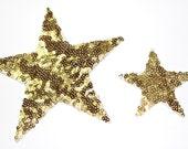 3 Sequins Stars Iron On Appliques Patches , Choose your Size Applique