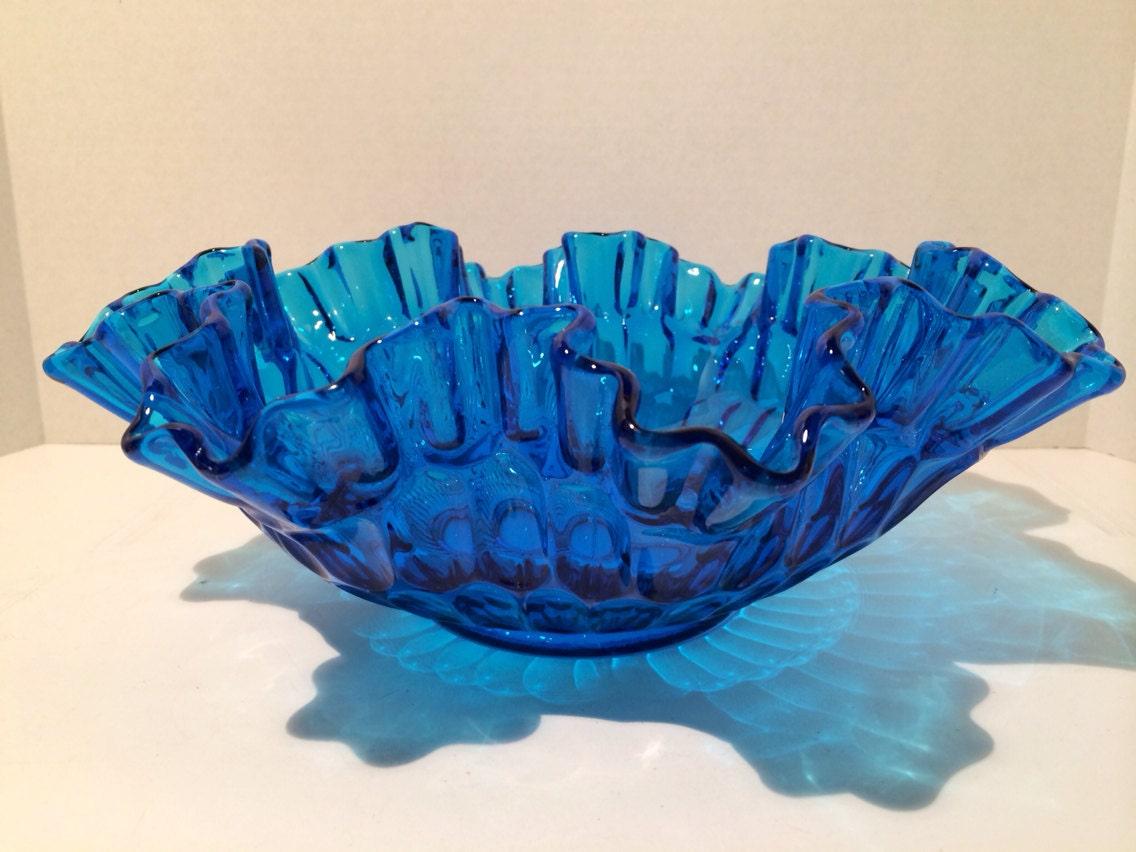 Fenton thumbprint cobalt blue ex large centerpiece bowl s