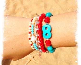 Infinity Blue Red Set - Friendship Bracelet - Arm Candy - Beaded Bracelet - Silver Chain - Intertwined Bracelet - Red Thread Bracelet