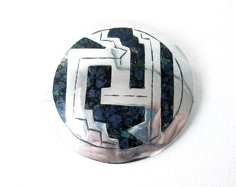 Vintage Aztec Sterling Silver Mosaic Circular Brooch Pendant Made In Mexico