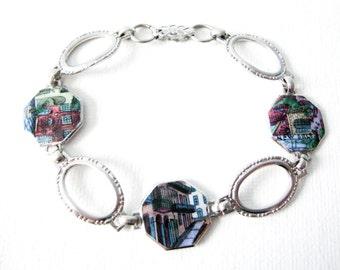 Vintage New Orleans Souvenir Enamel Sterling Silver Bracelet