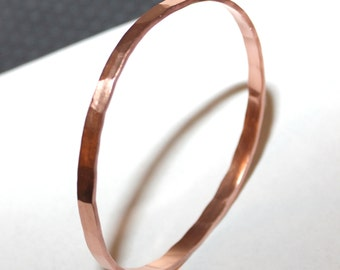 Custom Copper Bangle, Thin, Facet Hammered,