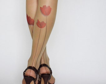 Delicate Tattoo Tights With Flower , Printed Handmade Tights , Tattoo Women's Pantyhose , tattoo socks