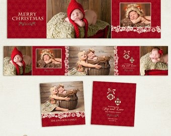 3x3 Accordion Album Template for Photographers - Happy Holidays - ID202, Instant Download