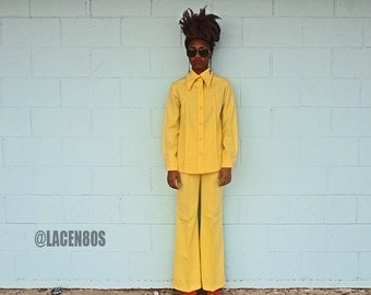 Mod 60's Vintage Canary Yellow Monochrome Wide Leg Bell Bottom Pant Suit