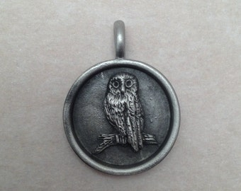 Aged Pewter owl pendant
