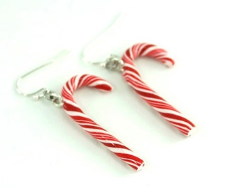 Candy Cane Earrings, Christmas Earrings, Christmas Jewelry, Peppermint Quirky Whimsical, Candy Earrings, Sweet Fun Gift, Holiday Earrings