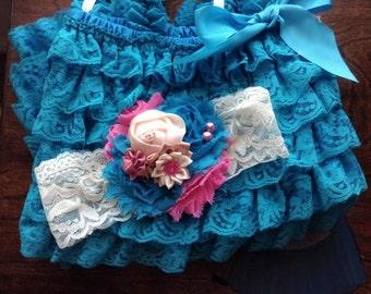 turquosie/ lace romper and coral headband SET,petti romper,baby headband,girls first birthday outfit, vintage headband, lace petti romper
